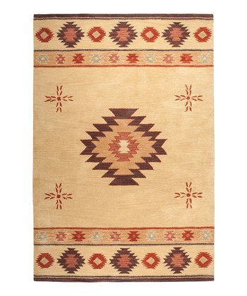 Beige Cross Southwest Hand-Tufted Wool Rug