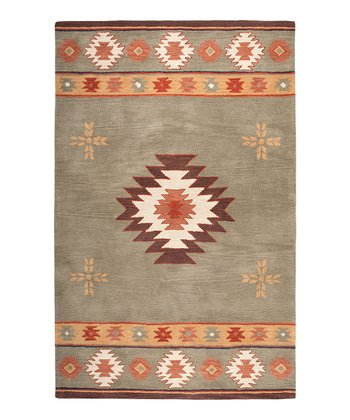 Green Southwest Diamond Hand-Tufted Wool Rug