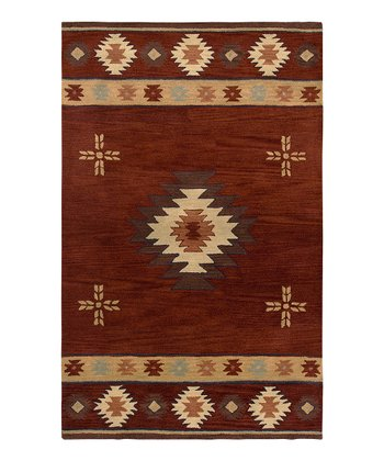 Red Southwest Cross Hand-Tufted Wool Rug