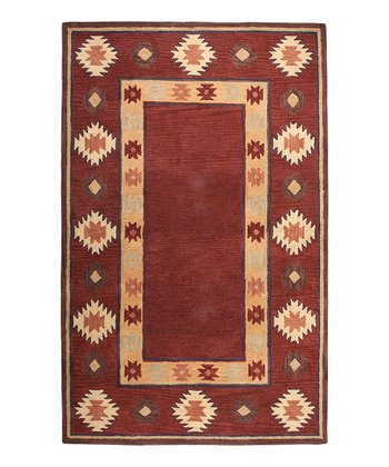 Red Southwest Rectangle Hand-Tufted Wool Rug