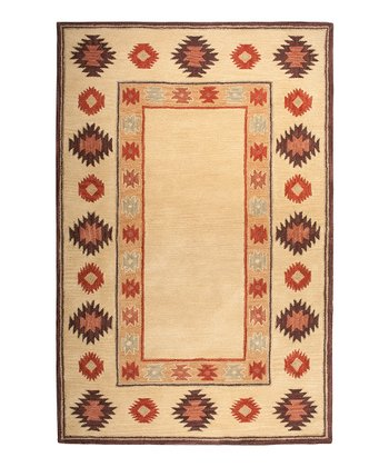 Beige & Red Southwest Hand-Tufted Wool Rug