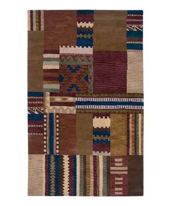 Red Southwest Block Hand-Tufted Wool Rug