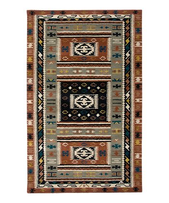 Green Southwest Hand-Tufted Wool Rug