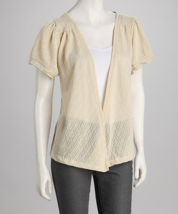 Ecru Diamond-Knit Open Cardigan