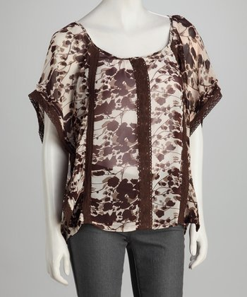 Brown Leaves Sheer Cape-Sleeve Tunic