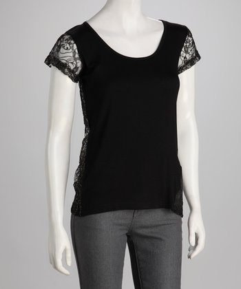 Black & Gold Lace-Back Short-Sleeve Top