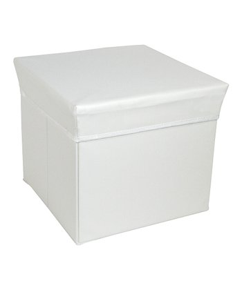 White Square Storage Bin Stool