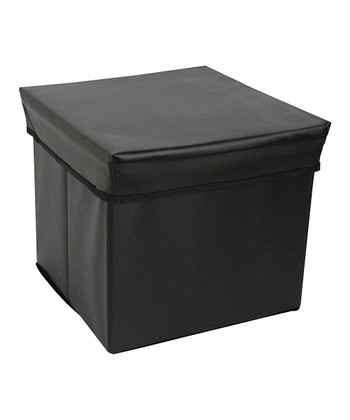 Black Square Storage Bin Stool