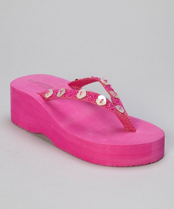 Fuchsia Hearts Wedge Flip-Flop