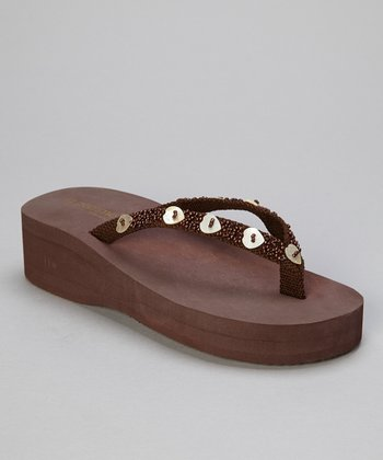 Brown Hearts Wedge Flip-Flop