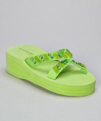 Key Lime Beaded Rhinestone Crisscross Wedge Flip-Flop