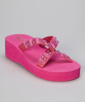 Fuchsia Beaded Rhinestone Crisscross Wedge Flip-Flop