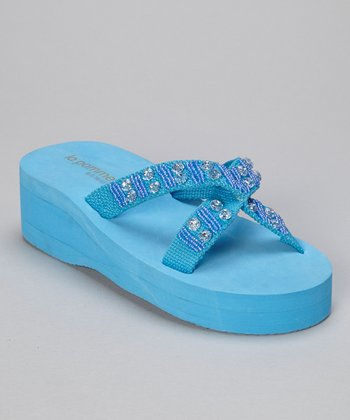 Blue Beaded Rhinestone Crisscross Wedge Flip-Flop