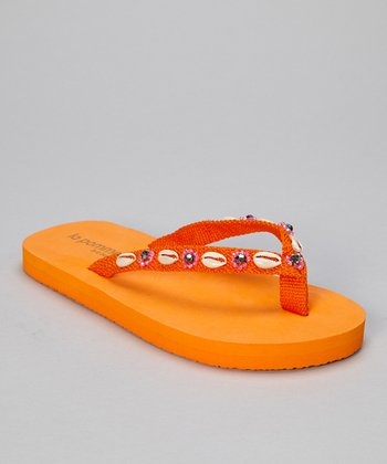 Orange Puka Shell Flip-Flop