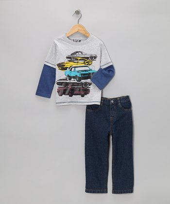 Gray & Blue Cars Layered Tee & Jeans - Infant