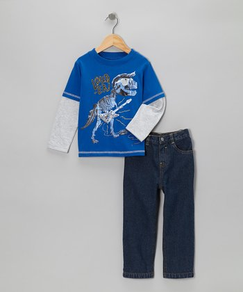 Royal Dinosaur Layered Tee & Jeans - Infant & Toddler