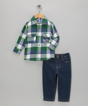 Green Flannel Button-Up & Jeans - Infant & Toddler