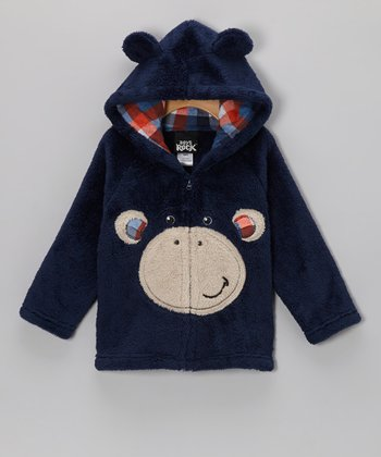 Dark Blue Monkey Plush Hooded Jacket - Infant & Toddler