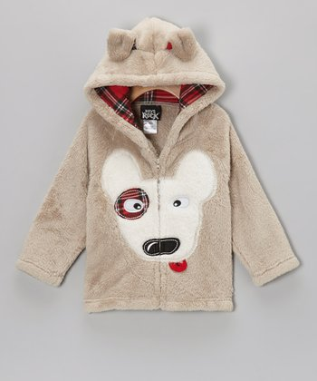 Gray Puppy Plush Hooded Jacket - Toddler