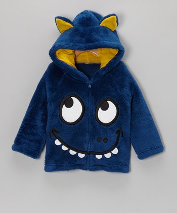 Blue Funny Monster Plush Hooded Jacket - Infant & Toddler