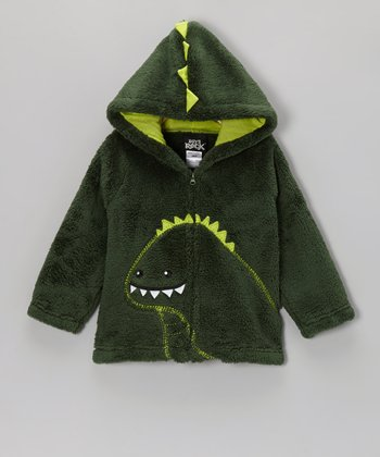 Green Dinosaur Plush Hooded Jacket - Infant