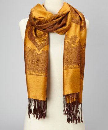 Rust & Chocolate Paris Cashmere-Silk Blend Scarf