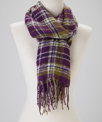 Eggplant Plaid Knit Cashmere-Wool Blend Scarf