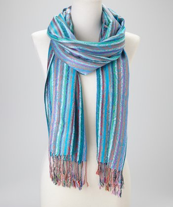 Turquoise Color Stripe Cashmere-Silk Blend Scarf