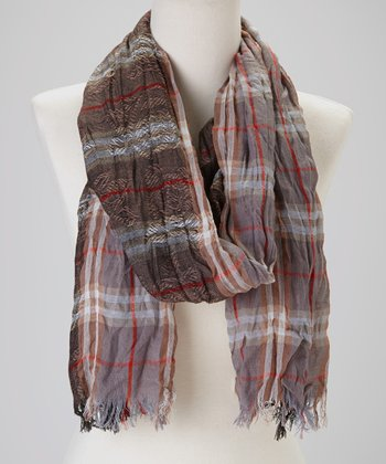 Denim & Chocolate Crinkle Plaid Cashmere-Silk Blend Scarf