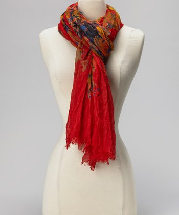 Red Vintage Flower Scarf