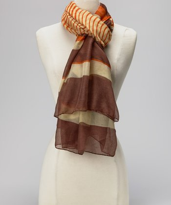 Orange & Chocolate Stripe Silk-Linen Blend Scarf