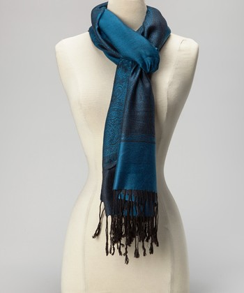 Dark Teal & Black Paris Cashmere-Silk Blend Scarf