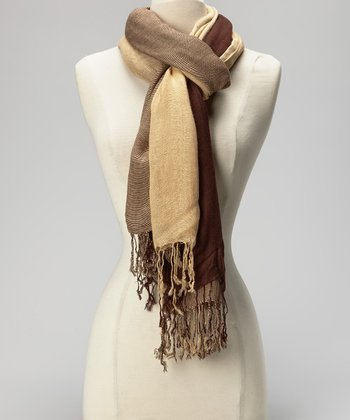 Chocolate & Tan Triple Cashmere-Silk Blend Scarf