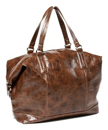 Brown Soho Croc Embossed Tote