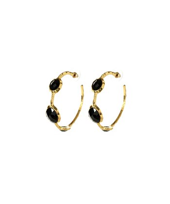 Jet Black Cleopatra Hoop Earrings