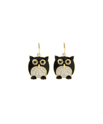 Black Crystal Owl Earrings
