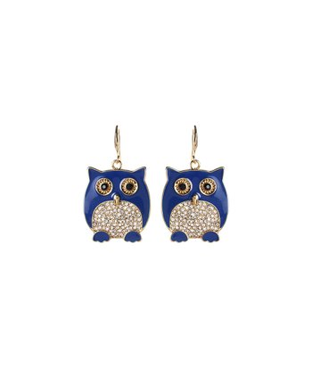Blue Crystal Owl Earrings