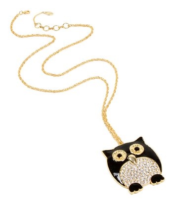 Black Crystal Owl Pendant Necklace