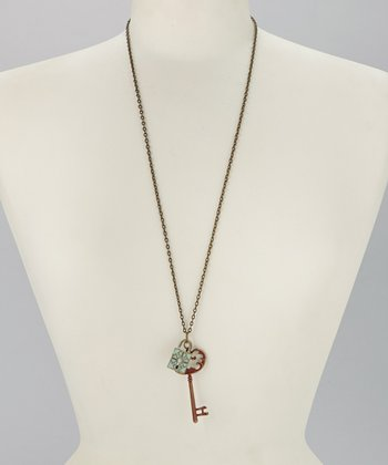Rust & Sea Glass Lock & Key Pendant Necklace