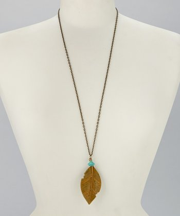 Mustard & Turquoise Feather Pendant Necklace