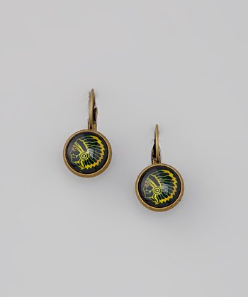 Black & Yellow Chief Dome Drop Earrings
