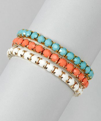 Coral & Turquoise Stretch Bracelet Set