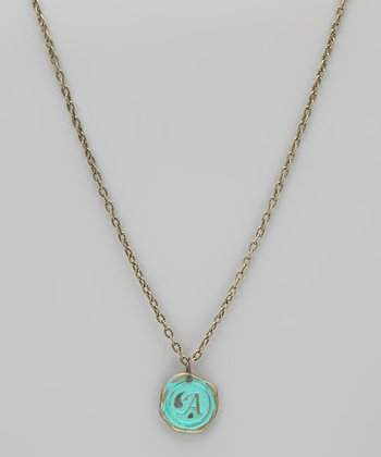 Brass Turquoise Stamped Antique Initial Pendant Necklace
