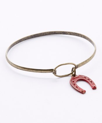 Brass & Cherry Horseshoe Charm Bracelet