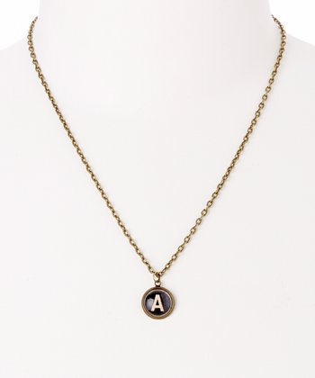 Brass Dome Initial Necklace