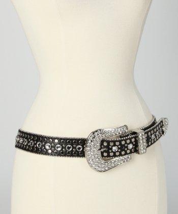 Black Studded Rhinestone Classic Belt