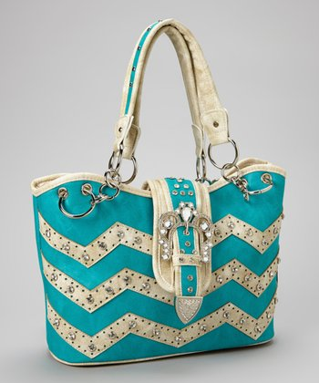 Turquoise Zigzag Rhinestone Crown Shoulder Bag