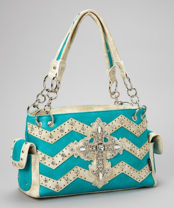 Turquoise Zigzag Rhinestone Cross Shoulder Bag