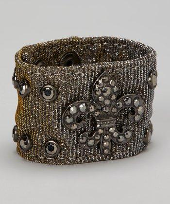 Silver Metallic Mesh Fleur-de-Lis Rhinestone Bracelet