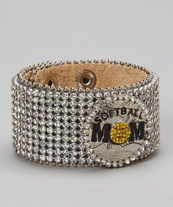 Silver All Rhinestone 'Softball Mom' Leather Bracelet